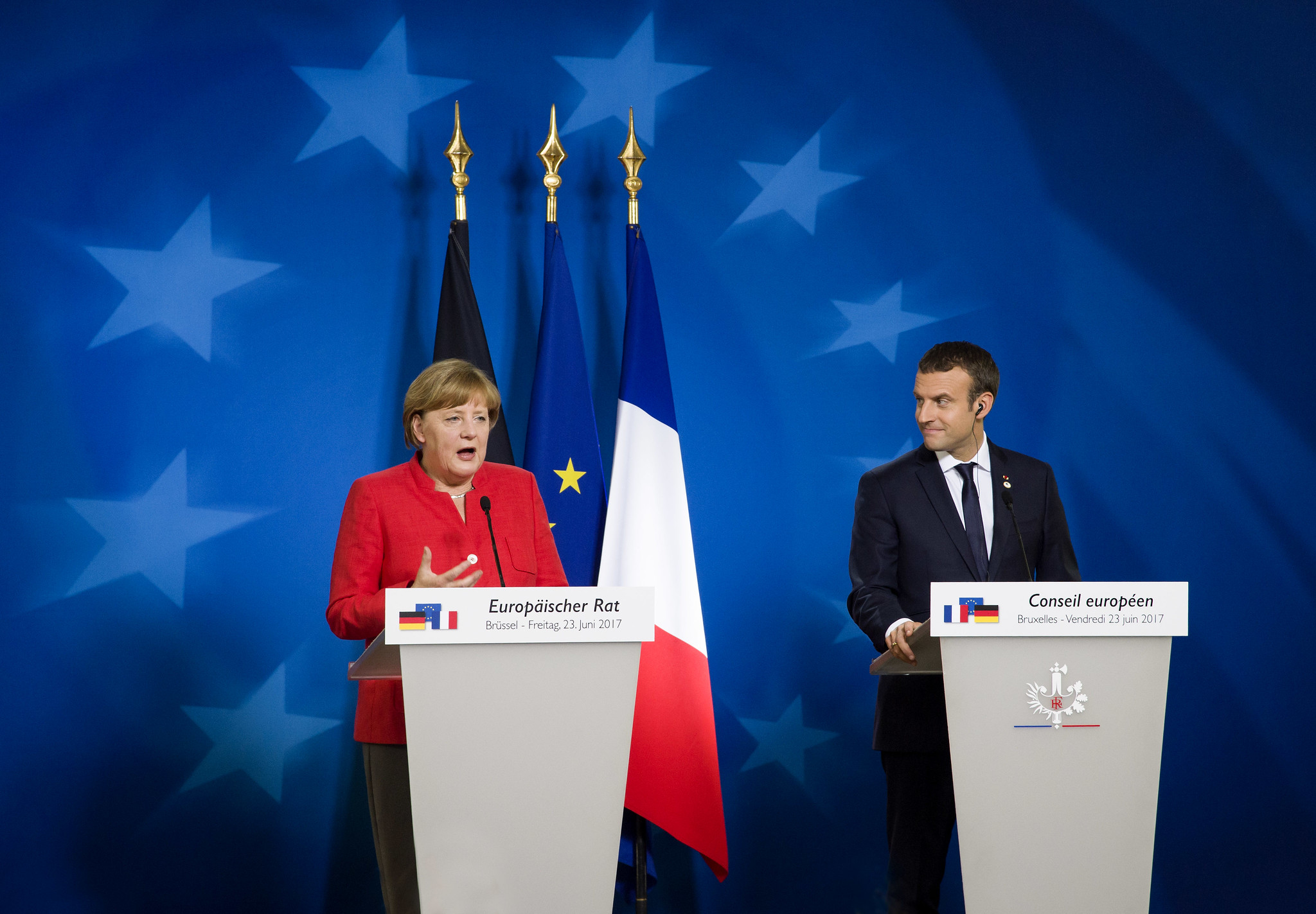 Angela Merkel and Emmanuel Macron at a European Council meeting in 2017